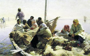 Картинка масло, картина, холст, По Реке Оке, Абрам Архипов
