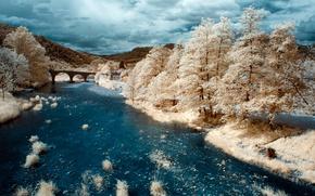 Картинка мост, река, Франция, инфракрасный снимок, Сен-Жан-дю-Гар