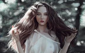 Картинка лицо, руки, белое платье, art, боке, шевелюра, пышные волосы, портрет девушки, Por Sawitree