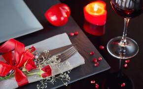 Картинка вино, розы, свечи, сердца, бокалы, подарки, день валентина, hearts, Valentines day