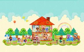 Картинка дом, комната, радуга, вектор, облако, мышка, киска, арт, двор, мишка, собачка, зверюшки, детская