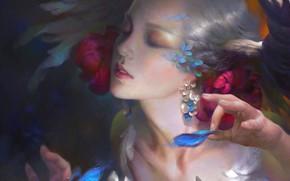 Картинка лицо, серьги, руки, прическа, цветы в волосах, эльфийка, белые волосы, art, закрыты глаза, Wei Feng