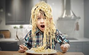 Картинка ребенок, мальчик, кухня, Creative, boy, макароны, pasta