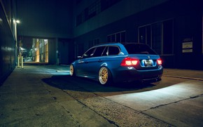 Картинка BMW, Blue, Stance, Rear, E91, Rotifrom