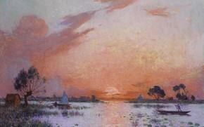Картинка пейзаж, лодка, картина, Ferdinand du Puigaudeau, Фердинанд дю Пюигадо, Закат в Бриере