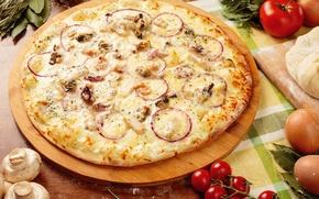 Картинка грибы, сыр, пицца, помидоры
