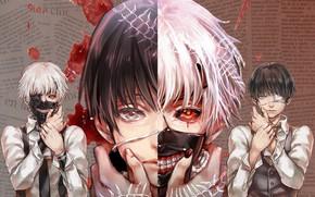 Картинка кровь, монстр, маска, боль, слёзы, седой, повязка на глаз, альтер эго, Tokyo Ghoul, Ken Kaneki, …