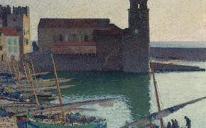 Картинка море, башня, картина, лодки, пуантилизм, Анри-Жан Гильом Мартин, Порт Коллиура, Henri Matrin