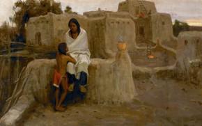 Картинка брат и сестра, Eanger Irving Couse, The Lesson, жилища индейцев