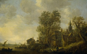 Картинка пейзаж, масло, картина, Ян ван Гойен, Вид Деревни на Реке