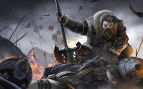 Картинка battlefield, sword, fantasy, Dwarf, armor, birds, painting, battle, digital art, artwork, shield, warrior, fantasy art, …
