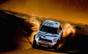 Картинка Песок, Mini, Белый, Спорт, Скорость, Гонка, Rally, Ралли, Передок, Дюна, Raid, MINI Cooper, X-Raid