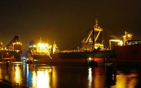 Картинка море, ночь, огни, корабль, порт