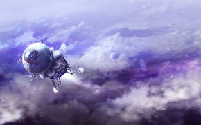Картинка космос, облака, планета, аппарат, Lander