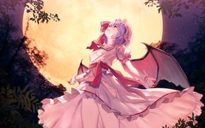 Картинка девушка, ночь, луна, touhou, remilia scarlet