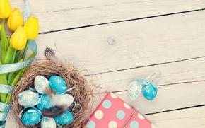 Картинка Пасха, тюльпаны, yellow, wood, tulips, spring, Easter, eggs, decoration, Happy, tender