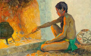 Картинка огонь, печка, кувшин, палка, казан, Eanger Irving Couse, Pueblo Fireplace