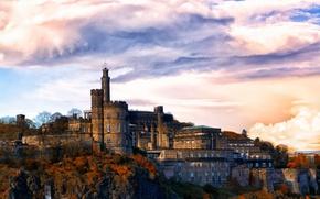 Картинка небо, облака, деревья, камни, замок, скалы, стены, Великобритания, Эдинбург
