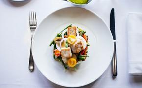 Картинка рыба, тарелка, вилка, овощи, помидоры, салат, fish, tomatoes, vegetable