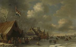 Обои зима, пейзаж, люди, картина, Развлечения на Льду, Томас Хиреманс