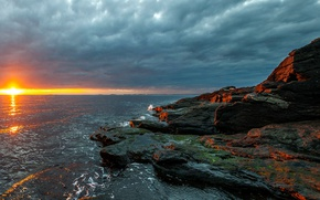 Картинка море, небо, солнце, тучи, камни, рассвет, побережье, горизонт, Норвегия, Rogaland