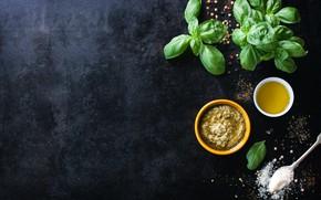 Картинка ложка, соус, соль, оливковое масло, базилик, песто