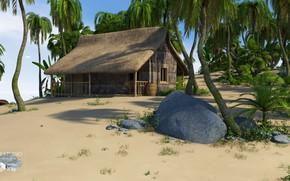 Картинка камни, пальмы, бочка, постройка, SecludedIsland