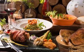 Картинка вино, мясо, овощи, паста