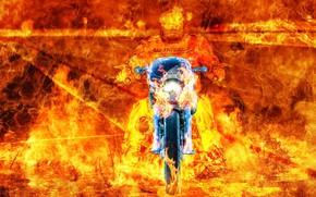 Картинка фон, огонь, мотоцикл