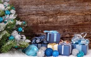 Картинка снег, шары, Новый Год, Рождество, wood, merry christmas, decoration, xmas, fir tree