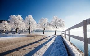 Обои зима, дорога, забор