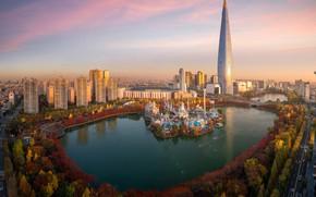 Обои Лотте Ворлд, Namsan Seoul Tower, Сеульская телебашня, здания, башня, осень, озеро, South Korea, дома, Сеул, ...