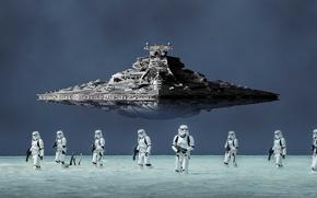 Обои spaceship, imperial troops, stellar ship, helmet, storm troopers, blaster, destroyer, cinema, film, armor, spin-off, gun, ...