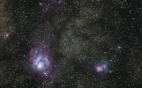 Картинка космос, Lagoon, Trifid, туманности
