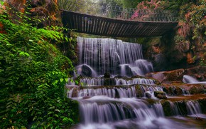 Картинка природа, камни, водопад, мостик