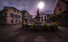 Картинка цветы, Франция, дома, площадь, фонтан, скульптура, Alsace, Eguisheim