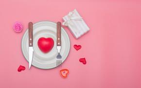 Картинка любовь, подарок, сердце, нож, сердечки, love, вилка, romantic, Valentine's Day, сервировка
