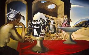 Картинка картина, Сальвадор Дали, Salvador Dali, Рынок Рабов с Явлением Незримого Бюста Вольтера, сюрреализм