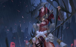 Картинка girl, sword, fantasy, magic, rain, horns, hat, weapons, shadows, artwork, mask, fantasy art, Witch