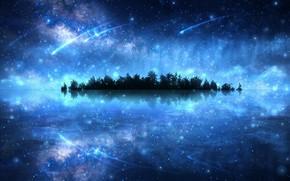 Картинка вода, космос, деревья, фантастика