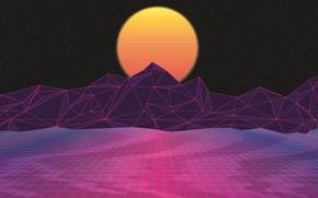 Картинка Солнце, Горы, Музыка, Звезды, Неон, Космос, Звезда, Фон, Графика, Electronic, Synthpop, Darkwave, Synth, Retrowave, Синти-поп, …