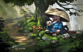Картинка лес, отдых, арт, дорожка, старичок, Dao Le Trong, кимпаб, Nicotine