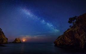 Картинка море, небо, скалы, побережье, звёзды, Испания, Girona