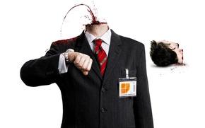 Картинка cinema, dead, man, movie, film, suit, head, badge, decapitated, Executive, business retreat, sales representatives, Severance, …