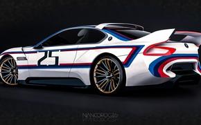 Картинка Concept, Авто, Рисунок, Машина, БМВ, Арт, Hommage, Вид сбоку, Немец, Bavarian, BMW 3.0 CSL, Hommage …