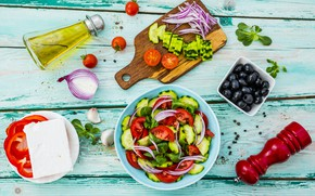 Картинка еда, огурец, лук, помидоры, оливки, оливковое масло, перец болгарский, греческий салат, сыр фета