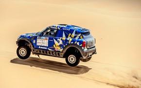Картинка Песок, Mini, Синий, Спорт, Пустыня, Скорость, Гонка, Rally, Внедорожник, Ралли, 209, X-Raid Team, MINI Cooper, …