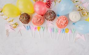 Картинка праздник, свечи, выпечка, кексы, день рождение