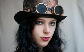 Картинка взгляд, лицо, шляпа, очки, steampunk, Стимпанк