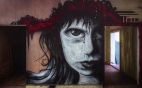 Картинка стена, рисунок, двери